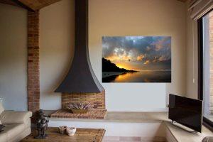Decorar un salón con una foto de un amanecer en Filipinas