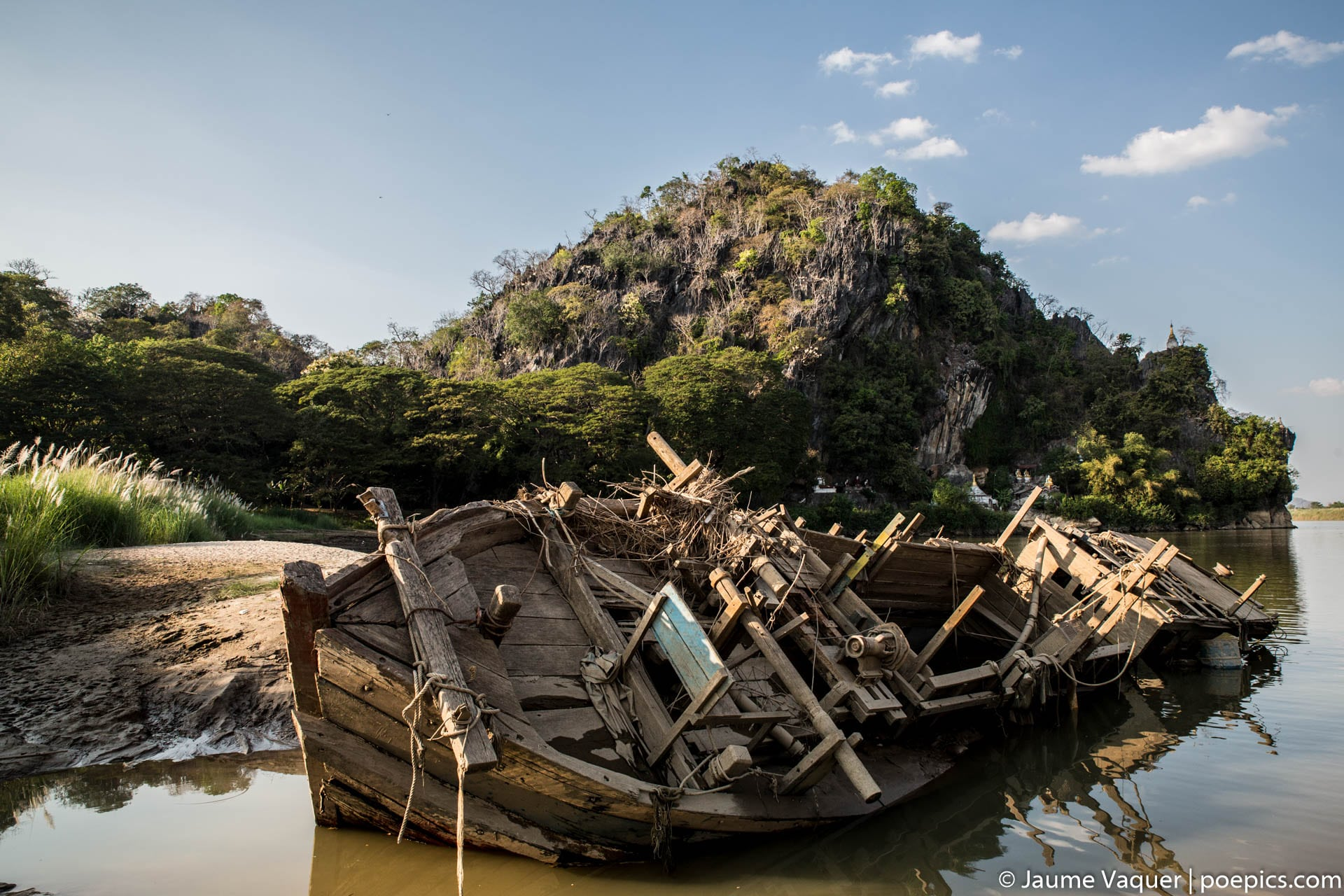 Ships cemetery in Hpa-An, Myanmar (Burma)
