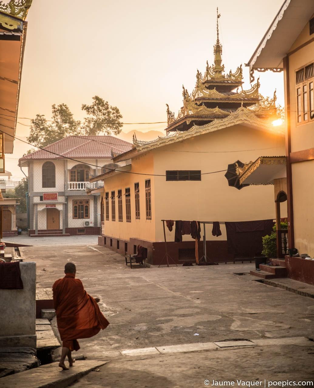 Budhist novice monks in a monastery, Inle Lake, Myanmar (Burma)