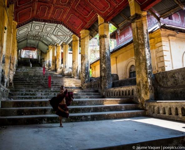 Budhist novice monk in Mawlamyine, Myanmar (Burma)